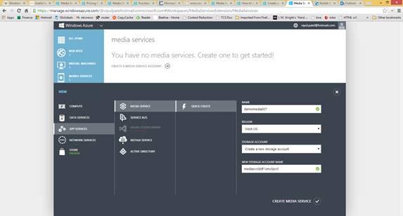 Create a media service account
