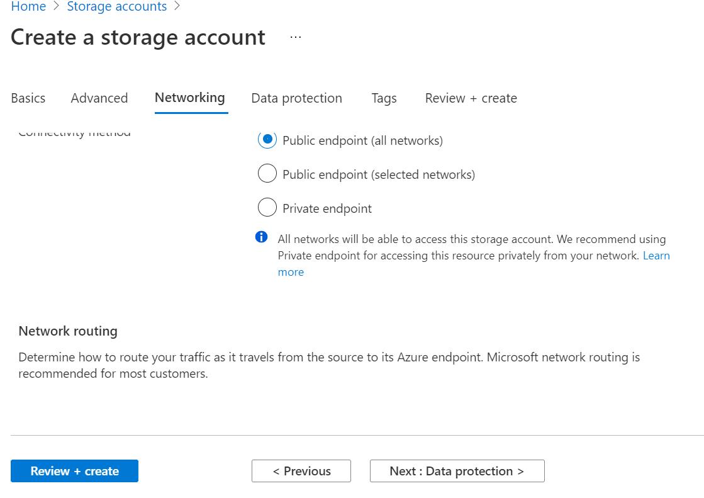 Setting Azure Storage Network Settings