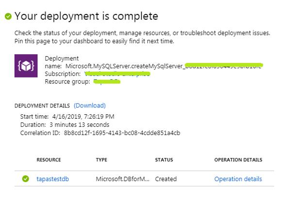 Azure MySQL Successful Deployment