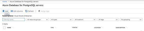 Create New PostgreSQL in Azure Portal