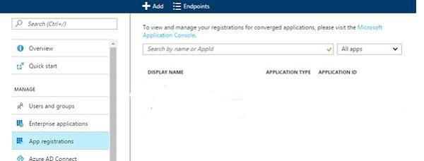 App registrations selected