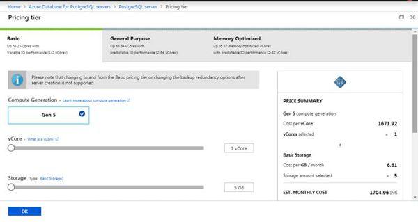 Create New PostgreSQL (Pricing tier)