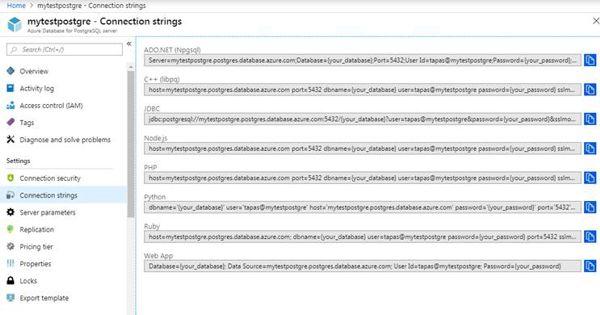 PostgreSQL DB Connection Strings
