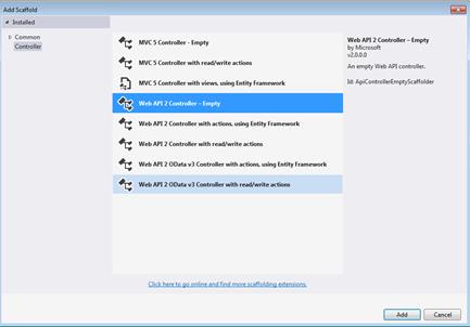 Selecting a Web API Controller Template