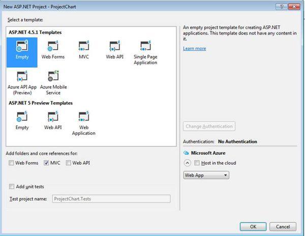 Select ASP.NET MVC Empty Project Template
