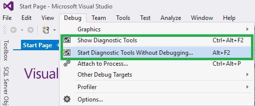 Run Diagnostic Tools from the Debug Menu
