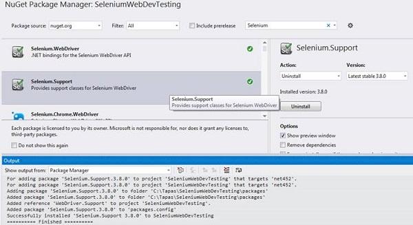Visual Studio Selenium.Support Installed