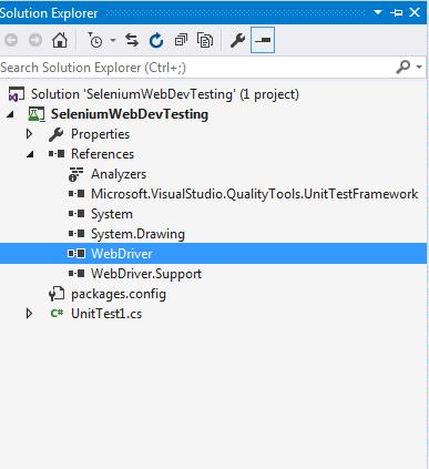 Visual Studio Solution Explorer WebDriver