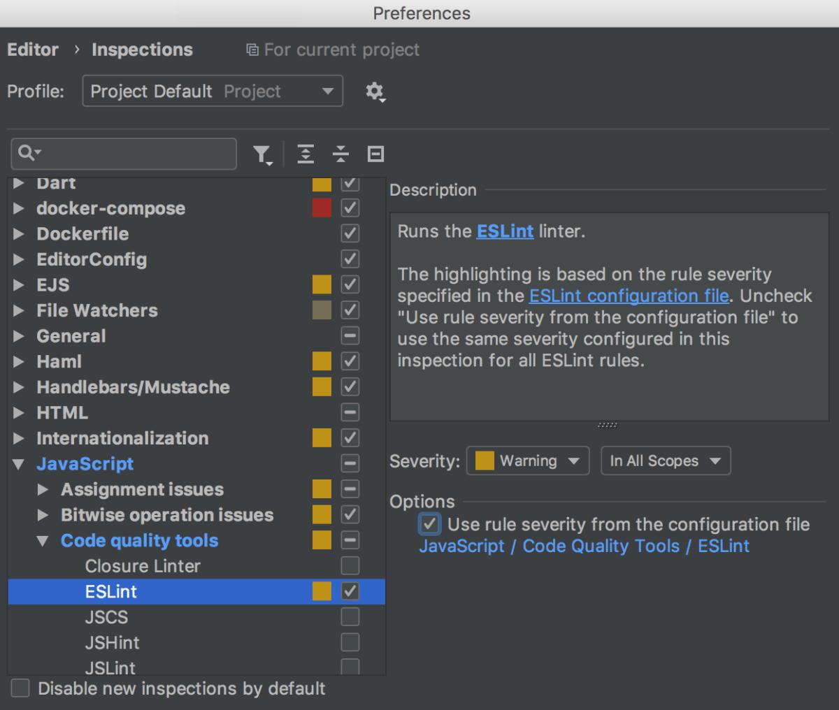 JavaScript ESLint Plugin Jet Brains
