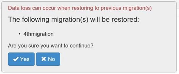 Restoring a migration