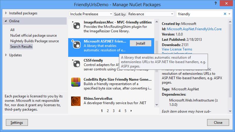 Microsoft ASP.NET Friendly URLs