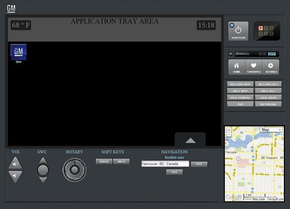 The GM Infotainment Emulator's App Choosing Screen
