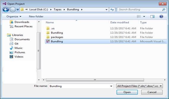 Visual Studio Open Project Window