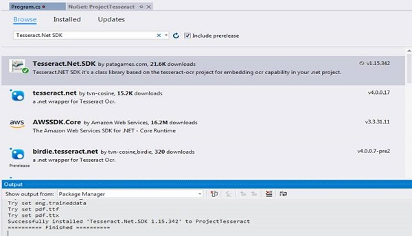 NuGet Package Manager with Tesseract.NET SDK