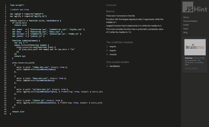 JavaScript JSHint Linter Tool