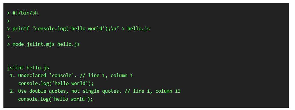 Run JavaScript Linter JSLint from Command Line