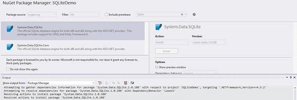 Installing the SQLite NuGet Package