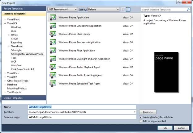 Create a Windows Phone application using WP 7.1 SDK tools