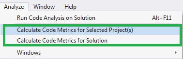 Analyze code metrics