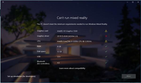 Mixed Reality Portal system check