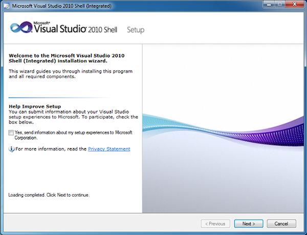 Microsoft Visual Studio 2010 Shell (Integrated) Installer
