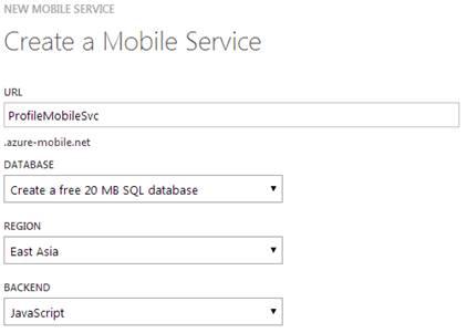 Create a Mobile Service