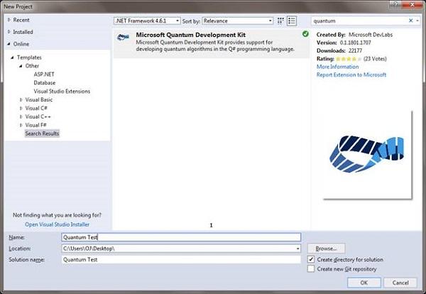 Visual Studio Quantum Developer Kit