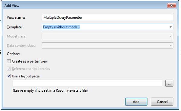 ASP.NET Solution—New Razor View