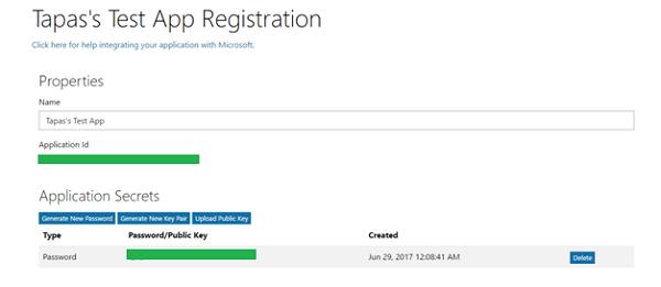 Graph API Test App Registration