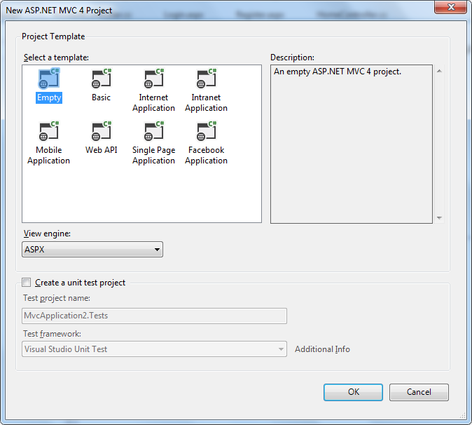 New ASP.NET MVC 4 web application using the Empty project template and ASPX view engine