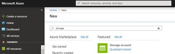 New Azure Storage