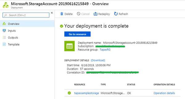 New Azure Storage Deployed