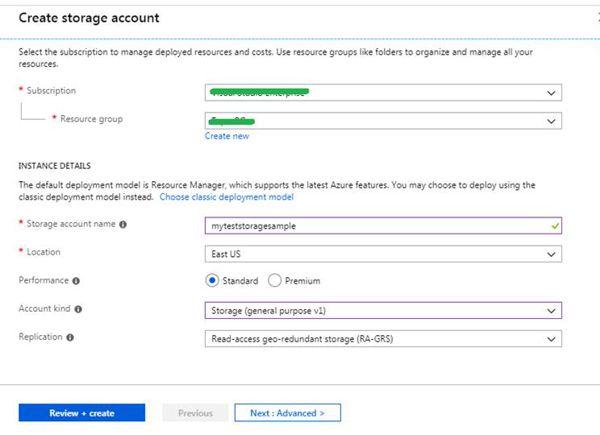 Create New Storage Account