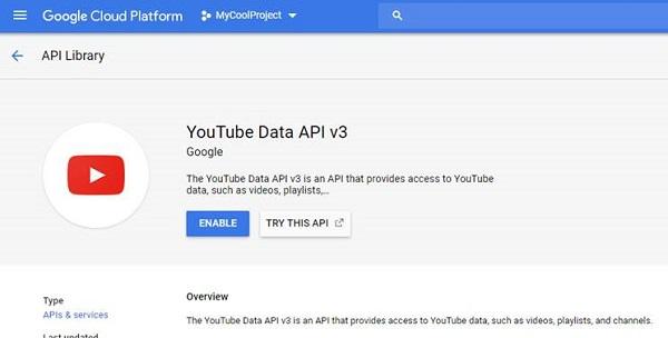 Enabling the YouTube Data API