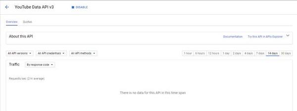 YouTube Data API Statistics