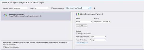Installing the 'Google.Apis.YouTube.v3' NuGet Package