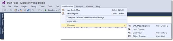 Visual Studio Architecture Menu