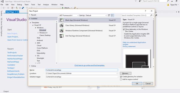 New Windows Universal App Project