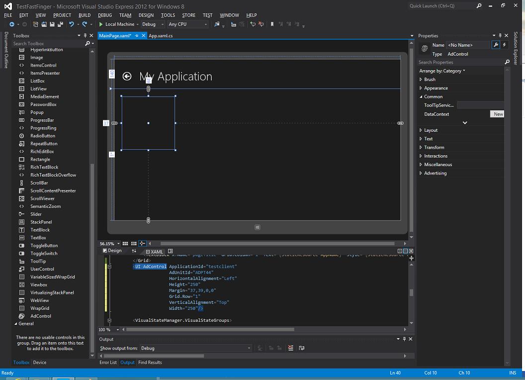 Adding an Ad in Visual Studio