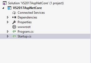 The empty ASP.NET Core project