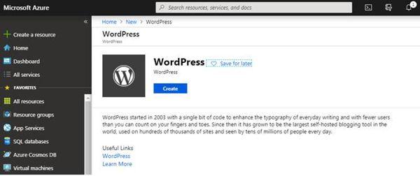 Azure WordPress Create Screen