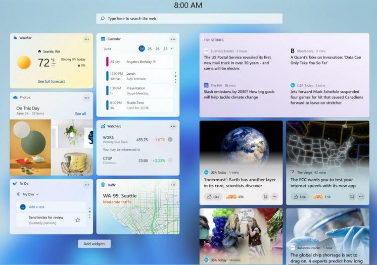 Windows 11 Widgets Feature