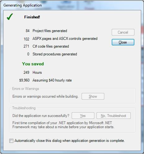 IronSpeed Designer Operation complete screen