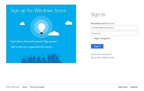 Sign Up for Windows Azure