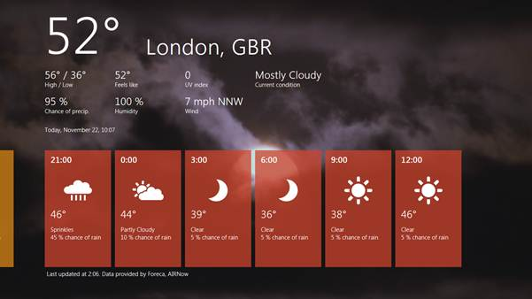 Weather application provided in Windows Developer Preview