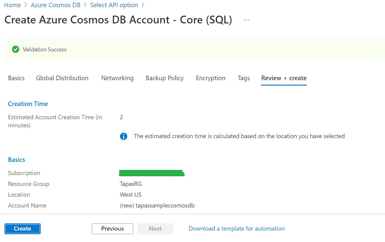 Azure CosmoDB Create