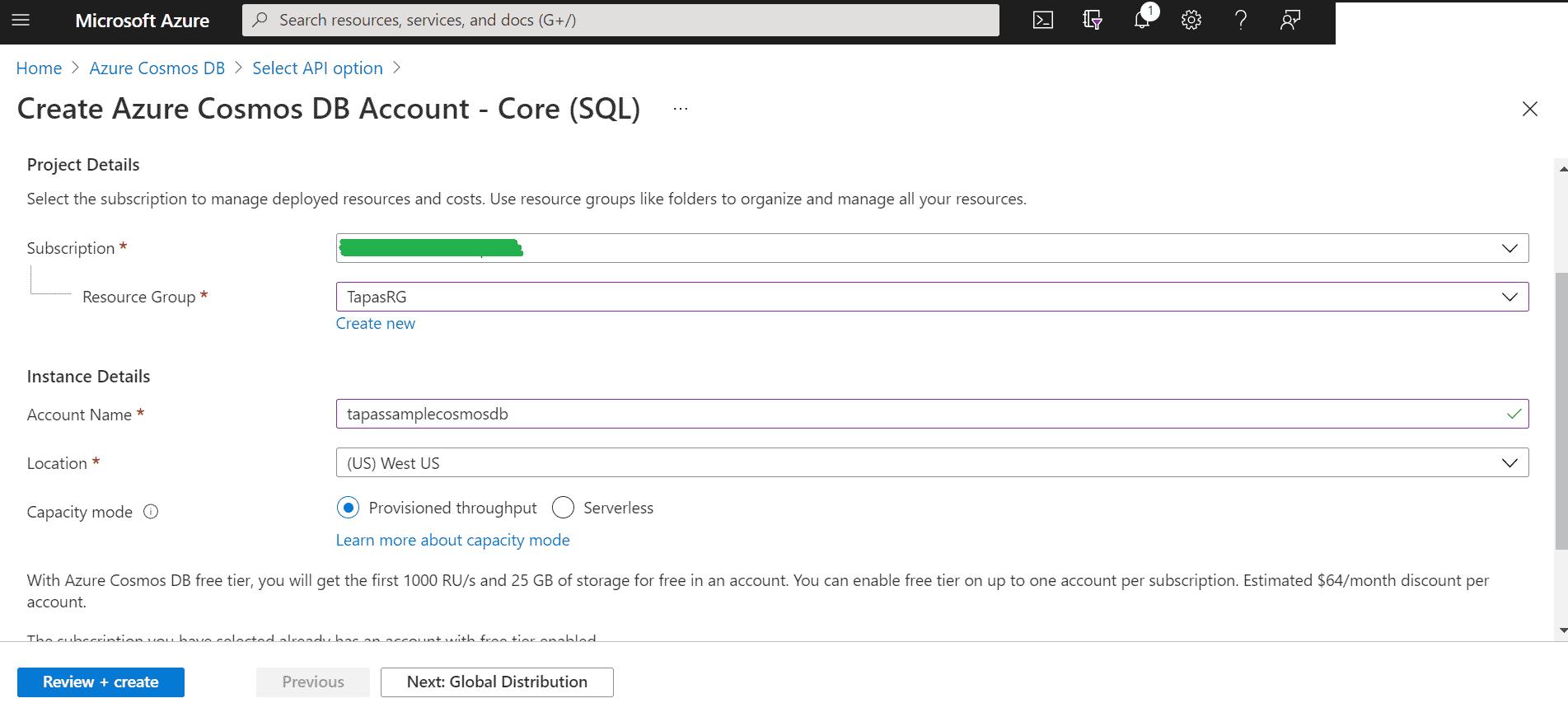Azure CosmoDB Details