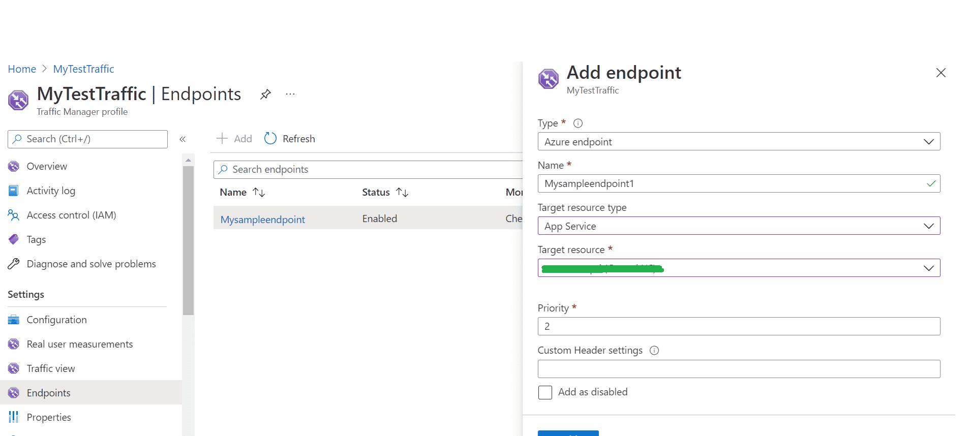 Azure Endpoint Details